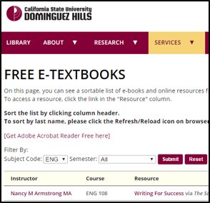 csu dominguez hill free etextbook list screenshot