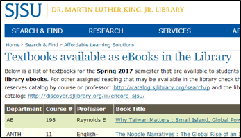 SJSU free etextbook list screenshot