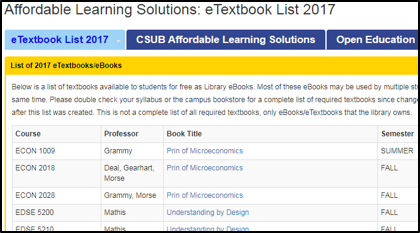 csu bakersfield free etextbook list screenshot